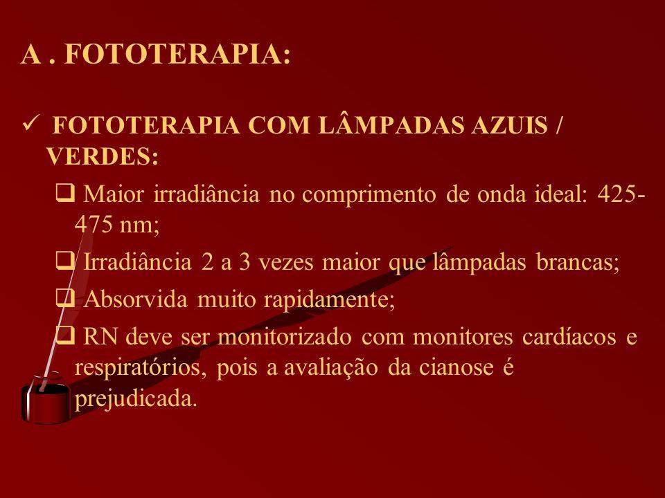 A . FOTOTERAPIA: FOTOTERAPIA COM LÂMPADAS AZUIS / VERDES: