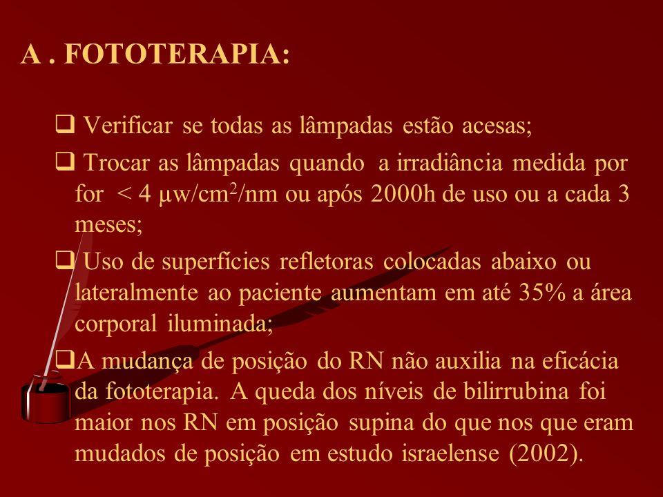 A . FOTOTERAPIA: Verificar se todas as lâmpadas estão acesas;