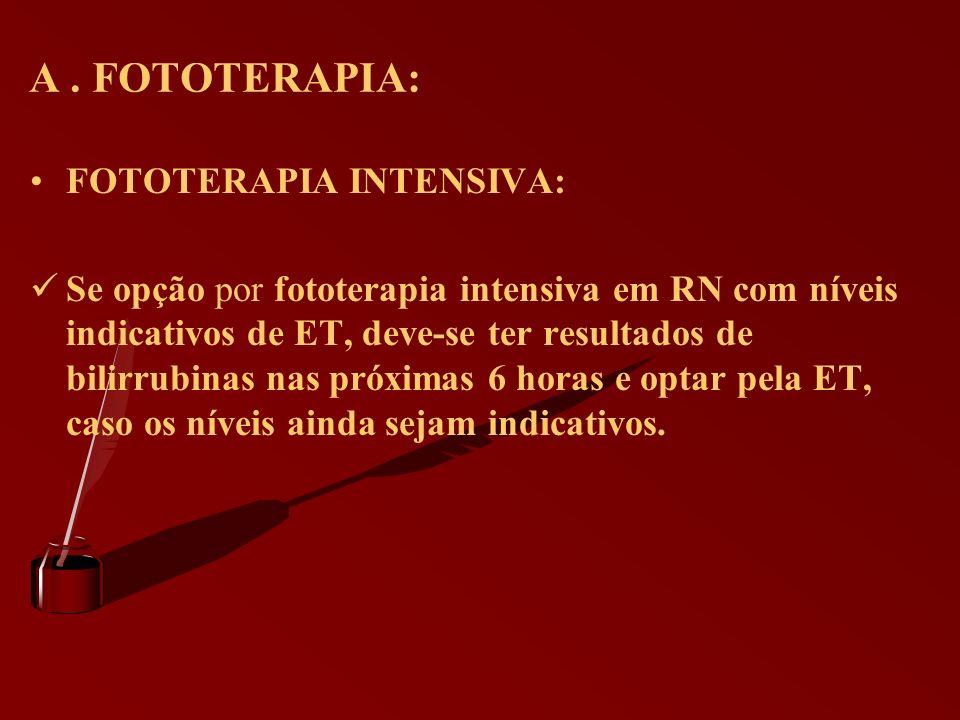A . FOTOTERAPIA: FOTOTERAPIA INTENSIVA: