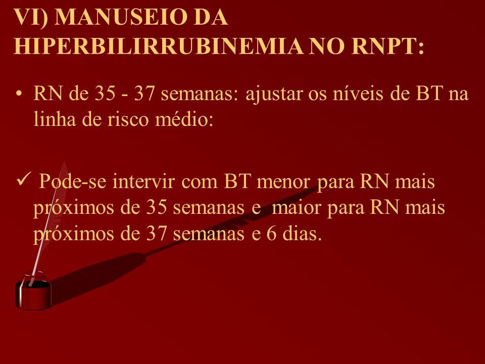 VI) MANUSEIO DA HIPERBILIRRUBINEMIA NO RNPT:
