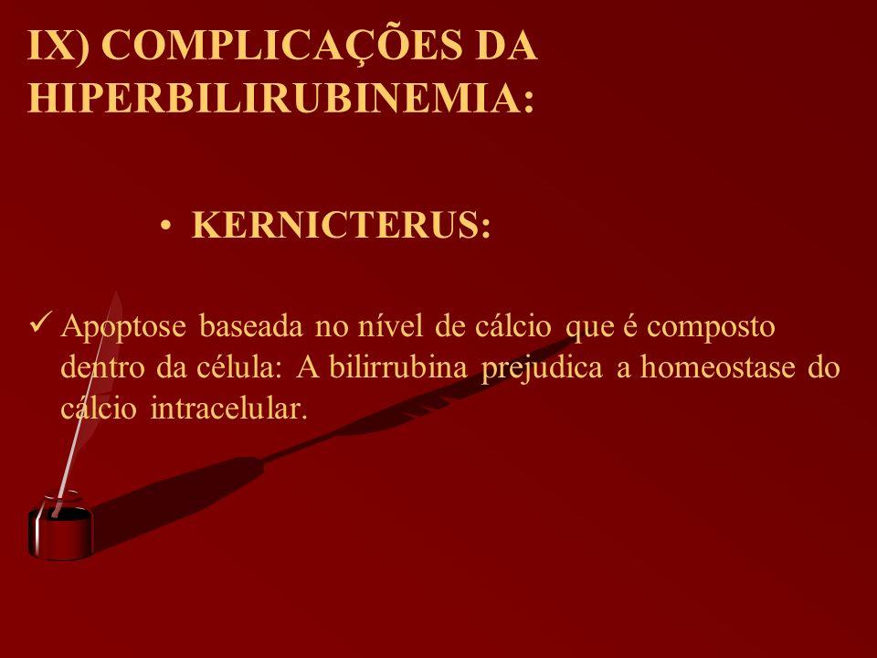 IX) COMPLICAÇÕES DA HIPERBILIRUBINEMIA: