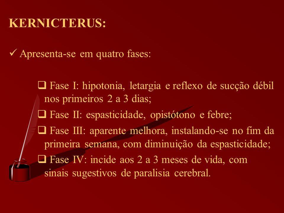 KERNICTERUS: Apresenta-se em quatro fases: