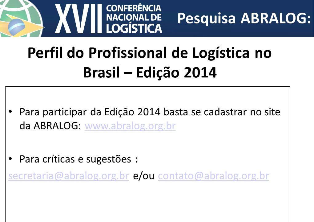 Perfil do Profissional de Logística no Brasil – Edição 2014