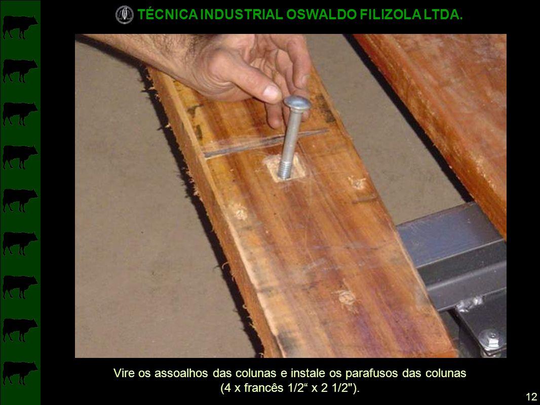 Vire os assoalhos das colunas e instale os parafusos das colunas
