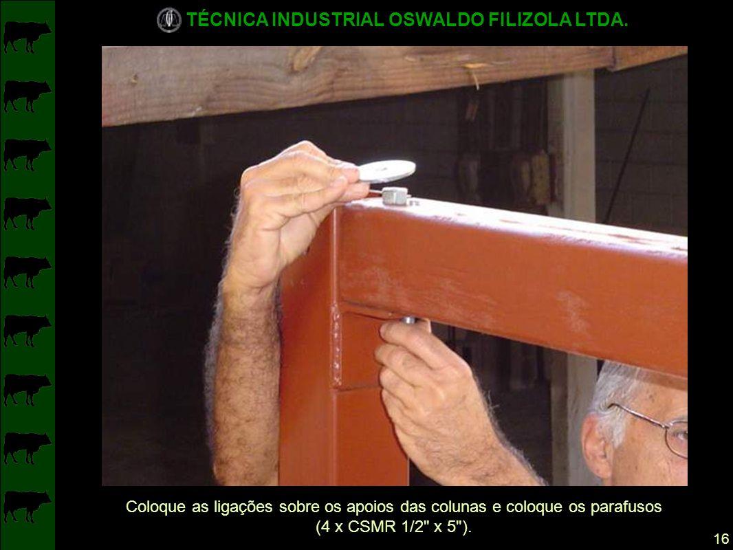Coloque as ligações sobre os apoios das colunas e coloque os parafusos