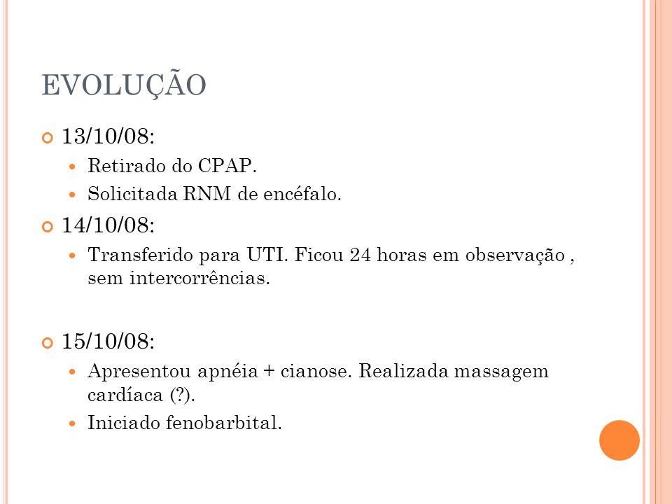 EVOLUÇÃO 13/10/08: 14/10/08: 15/10/08: Retirado do CPAP.