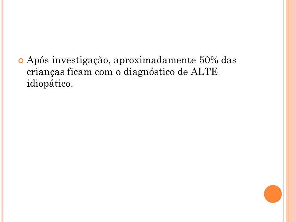 Após investigação, aproximadamente 50% das crianças ficam com o diagnóstico de ALTE idiopático.