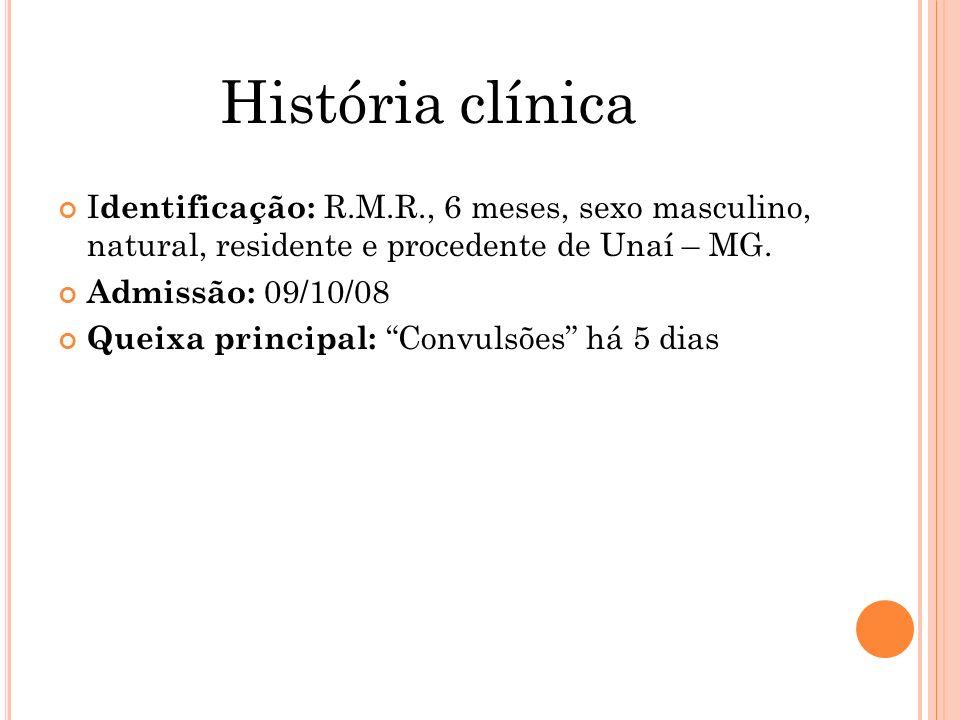 História clínica Identificação: R.M.R., 6 meses, sexo masculino, natural, residente e procedente de Unaí – MG.
