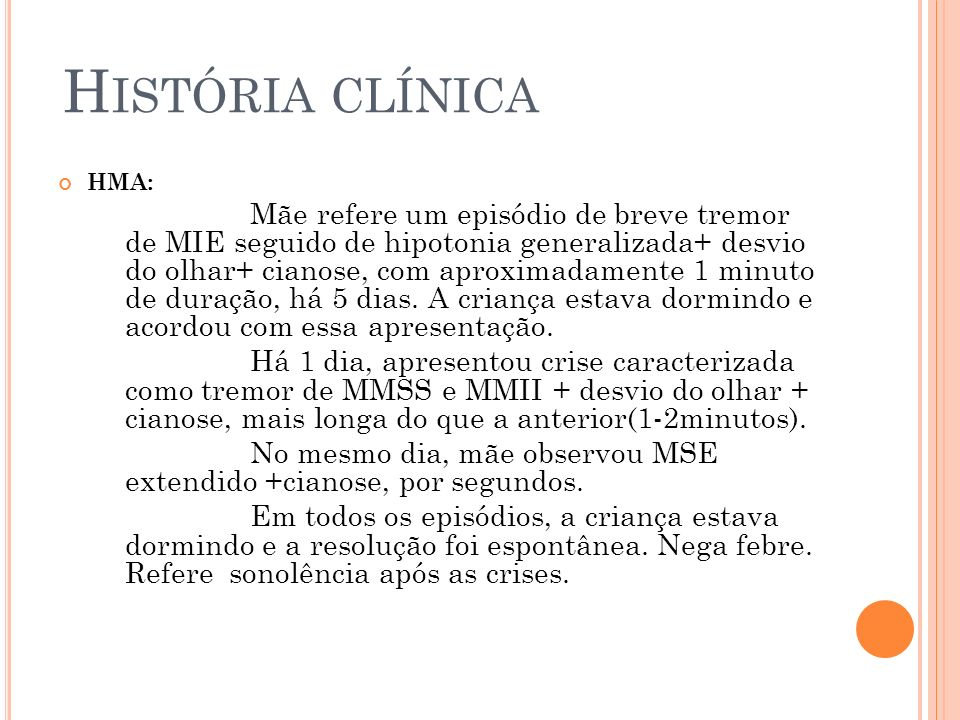 História clínicaHMA: