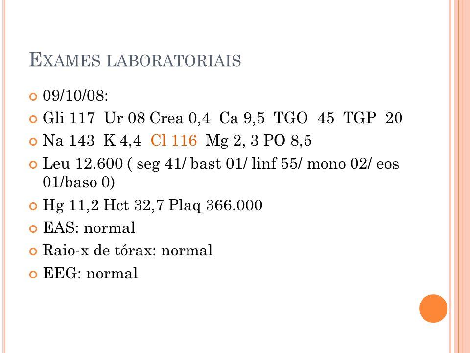 Exames laboratoriais 09/10/08: