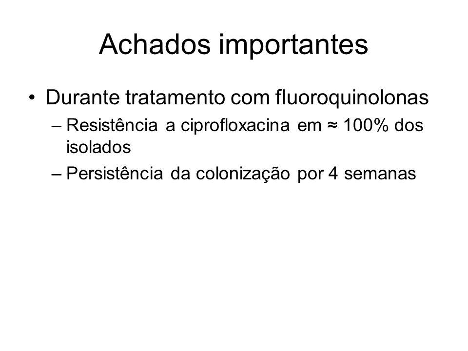 Achados importantes Durante tratamento com fluoroquinolonas
