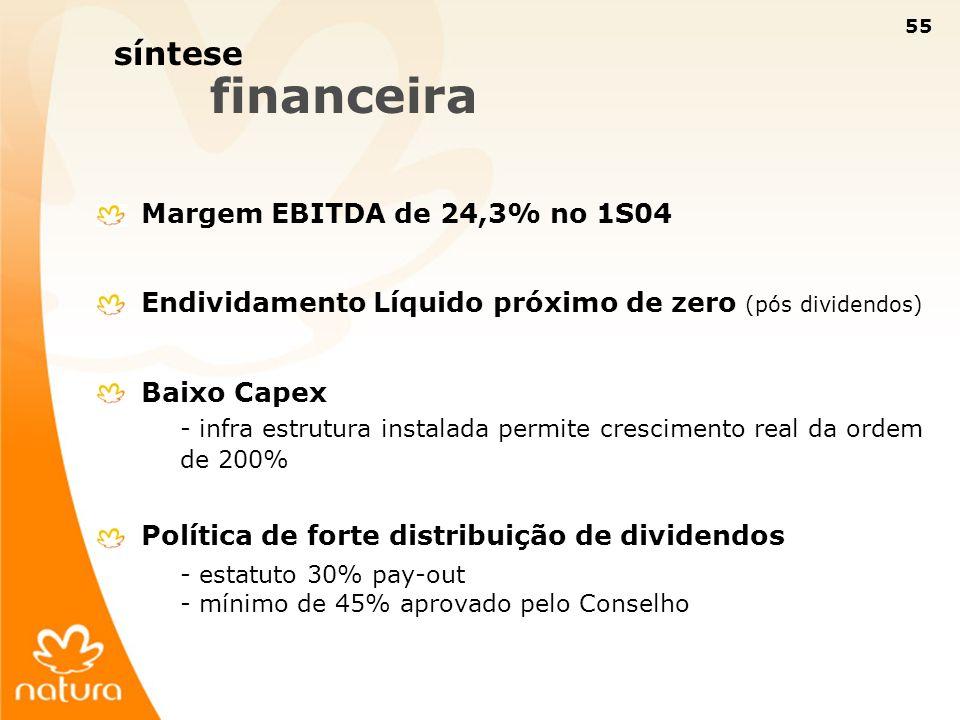 síntese financeira Margem EBITDA de 24,3% no 1S04