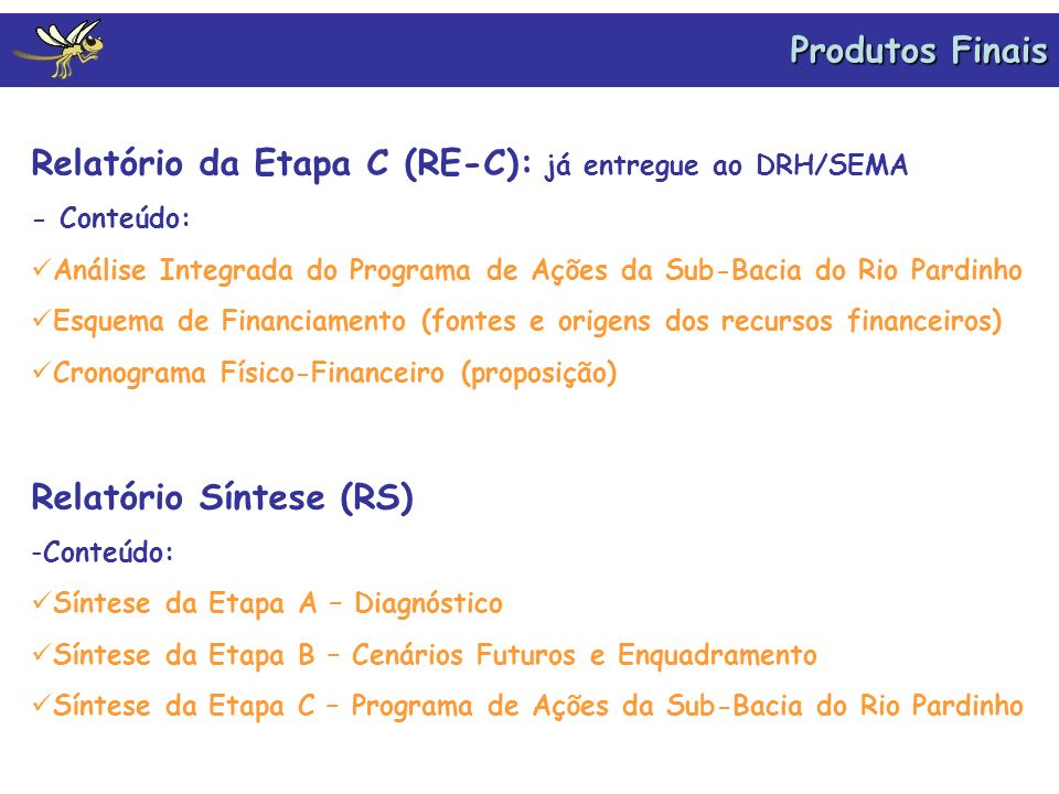 Relatório da Etapa C (RE-C): já entregue ao DRH/SEMA