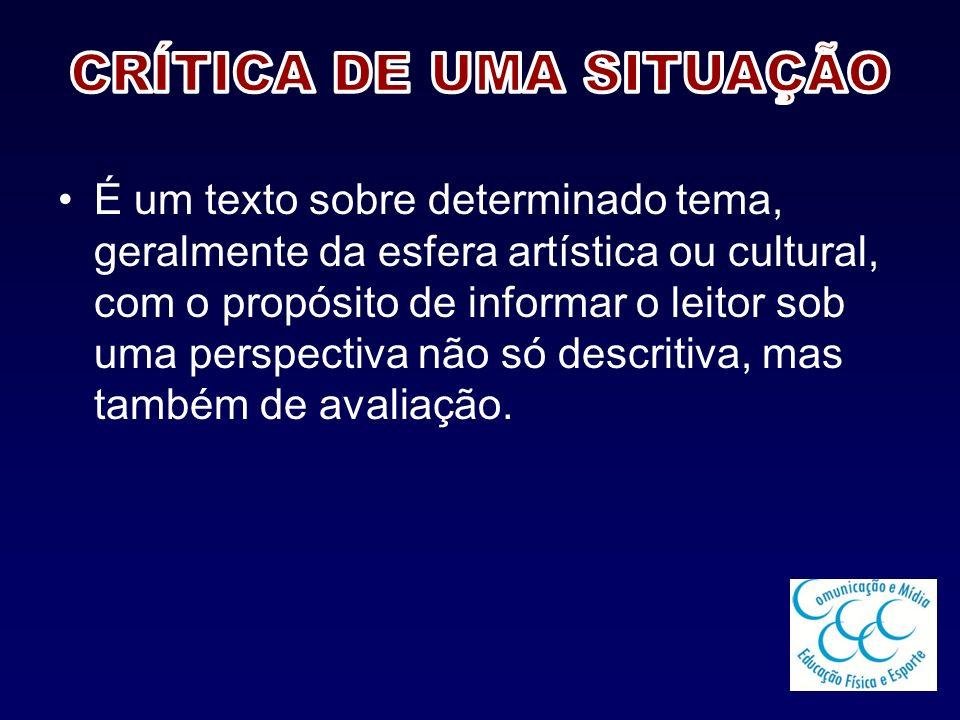CRÍTICA DE UMA SITUAÇÃO