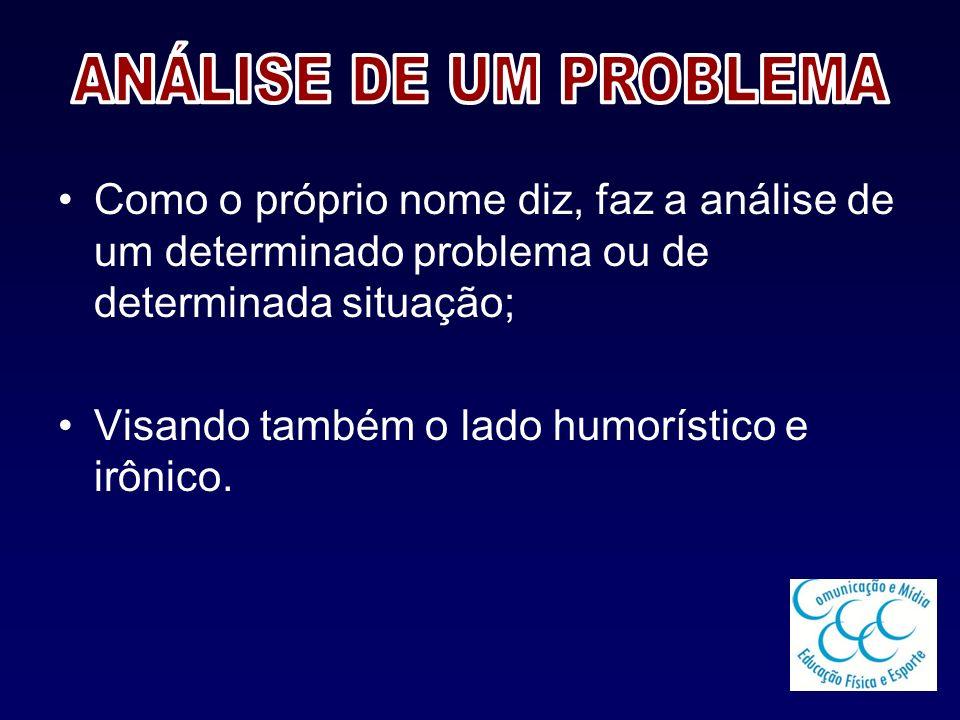 ANÁLISE DE UM PROBLEMA Como o próprio nome diz, faz a análise de um determinado problema ou de determinada situação;