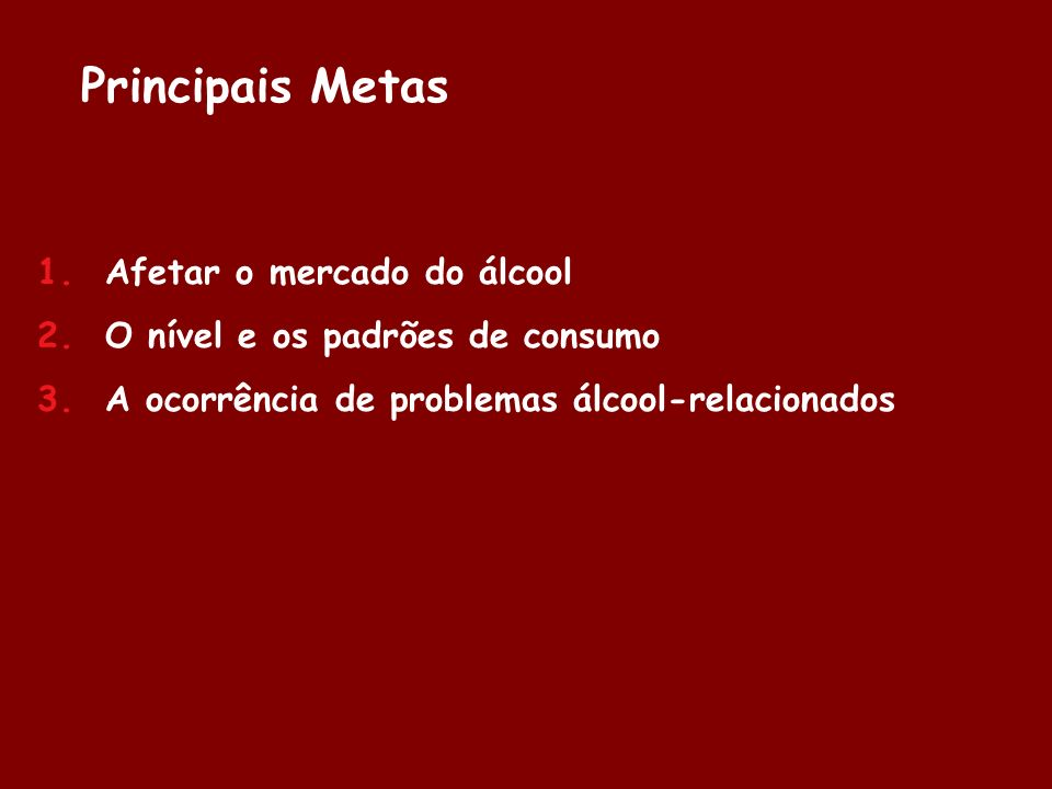 Principais Metas Afetar o mercado do álcool