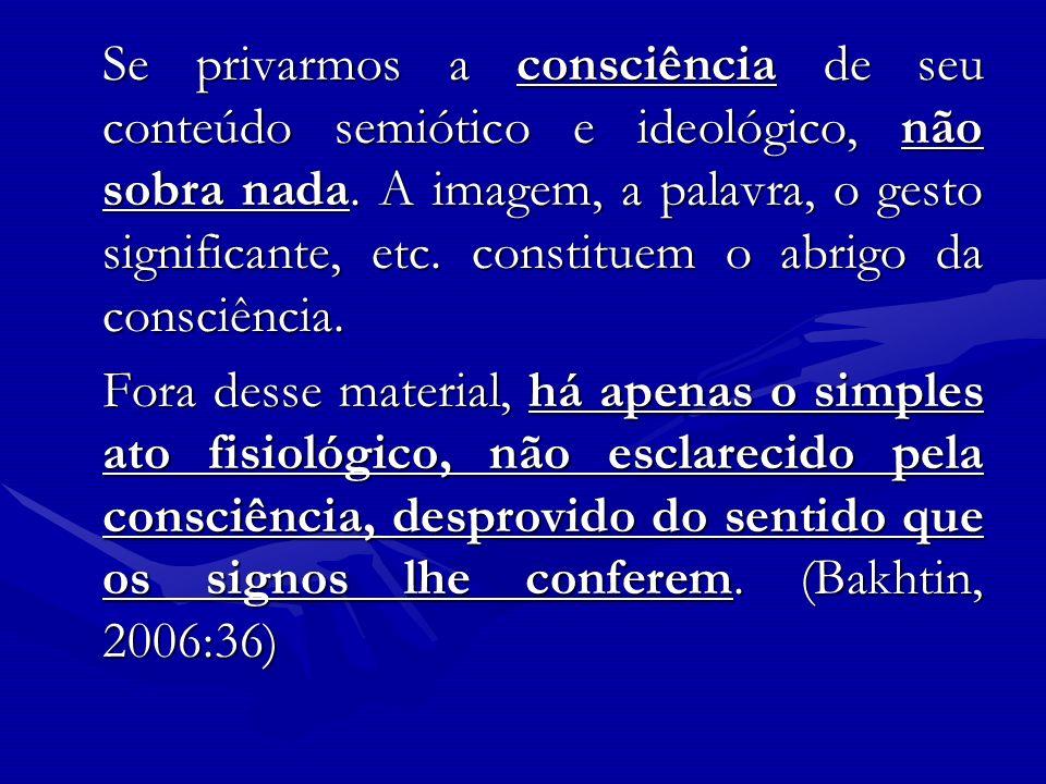 Se privarmos a consciência de seu conteúdo semiótico e ideológico, não sobra nada. A imagem, a palavra, o gesto significante, etc. constituem o abrigo da consciência.