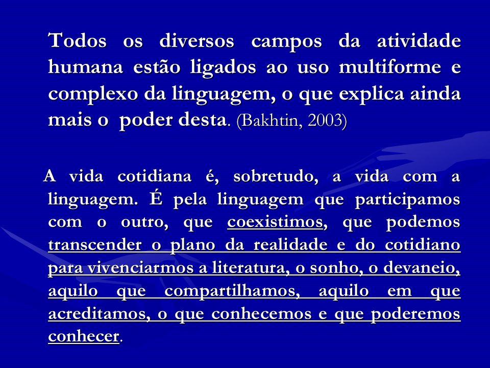 Todos os diversos campos da atividade humana estão ligados ao uso multiforme e complexo da linguagem, o que explica ainda mais o poder desta. (Bakhtin, 2003)