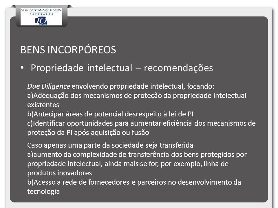 BENS INCORPÓREOS Propriedade intelectual – recomendações