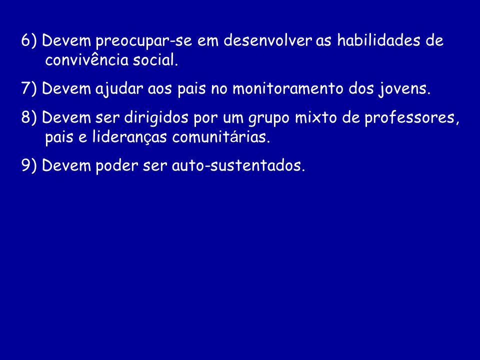 6) Devem preocupar-se em desenvolver as habilidades de convivência social.
