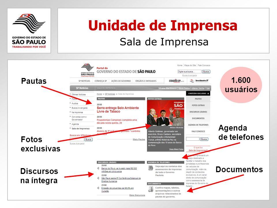 Unidade de Imprensa Sala de Imprensa Pautas 1.600 usuários Agenda
