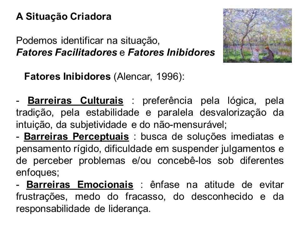 A Situação Criadora Podemos identificar na situação, Fatores Facilitadores e Fatores Inibidores. Fatores Inibidores (Alencar, 1996):