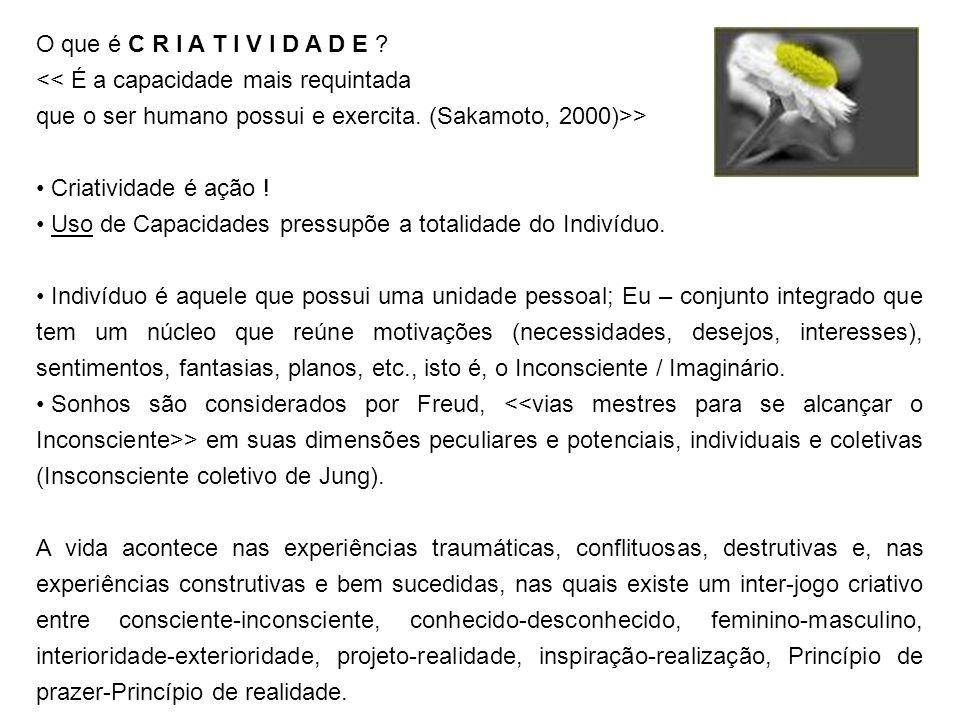 O que é C R I A T I V I D A D E << É a capacidade mais requintada. que o ser humano possui e exercita. (Sakamoto, 2000)>>