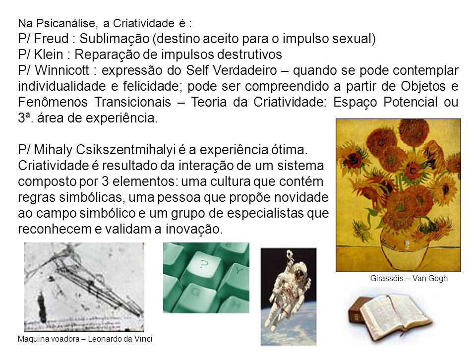 P/ Freud : Sublimação (destino aceito para o impulso sexual)