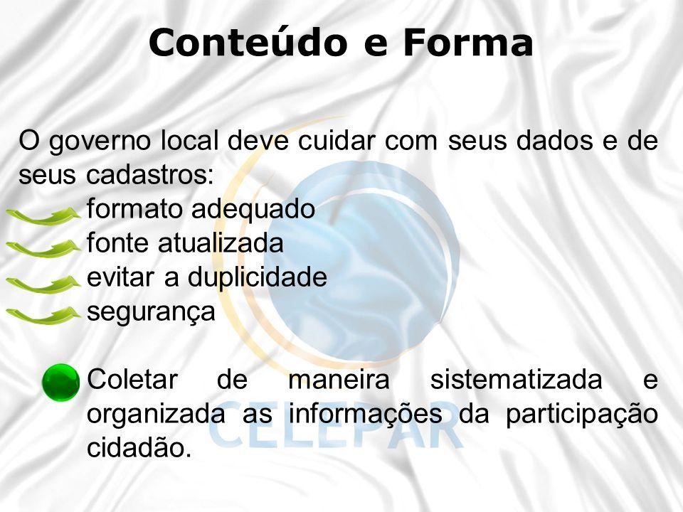 Conteúdo e Forma 30/11/12. 30/11/12. O governo local deve cuidar com seus dados e de seus cadastros: