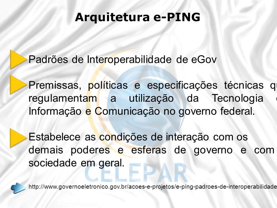 Arquitetura e-PING Padrões de Interoperabilidade de eGov