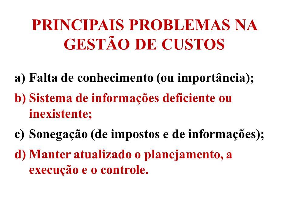 PRINCIPAIS PROBLEMAS NA GESTÃO DE CUSTOS