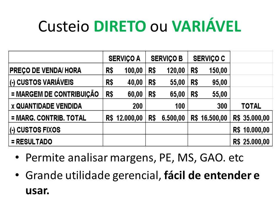 Custeio DIRETO ou VARIÁVEL