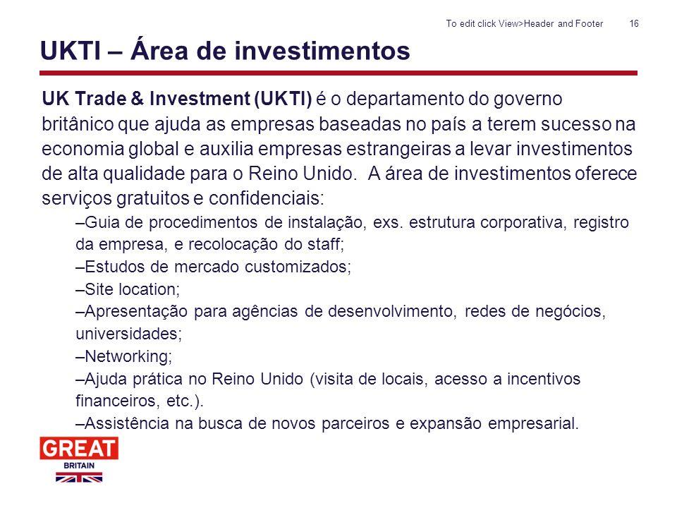 UKTI – Área de investimentos