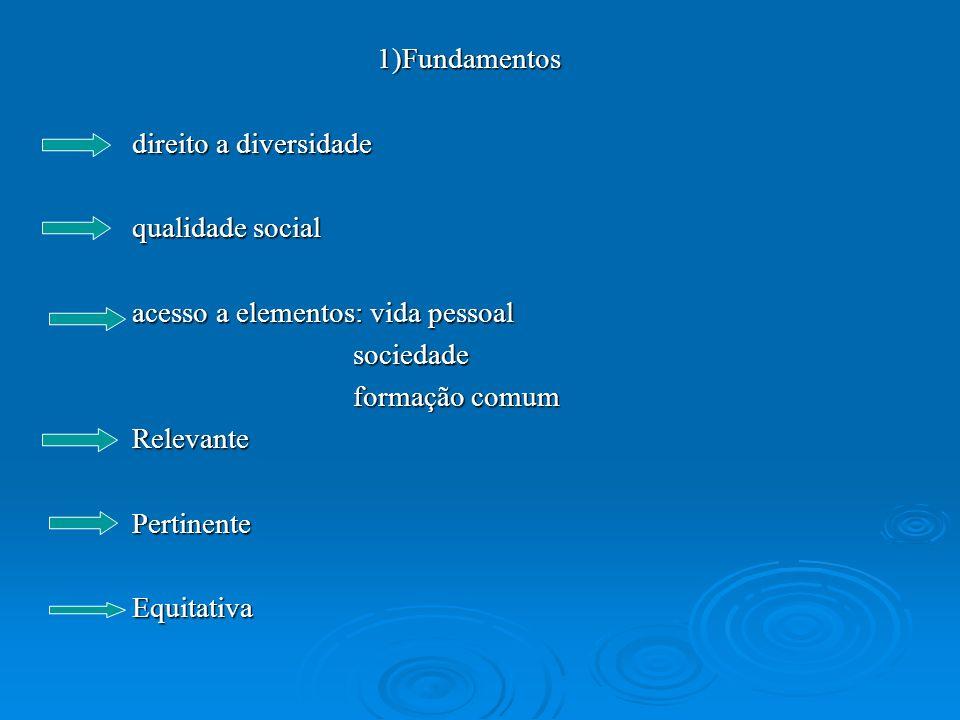 1)Fundamentos direito a diversidade. qualidade social. acesso a elementos: vida pessoal. sociedade.