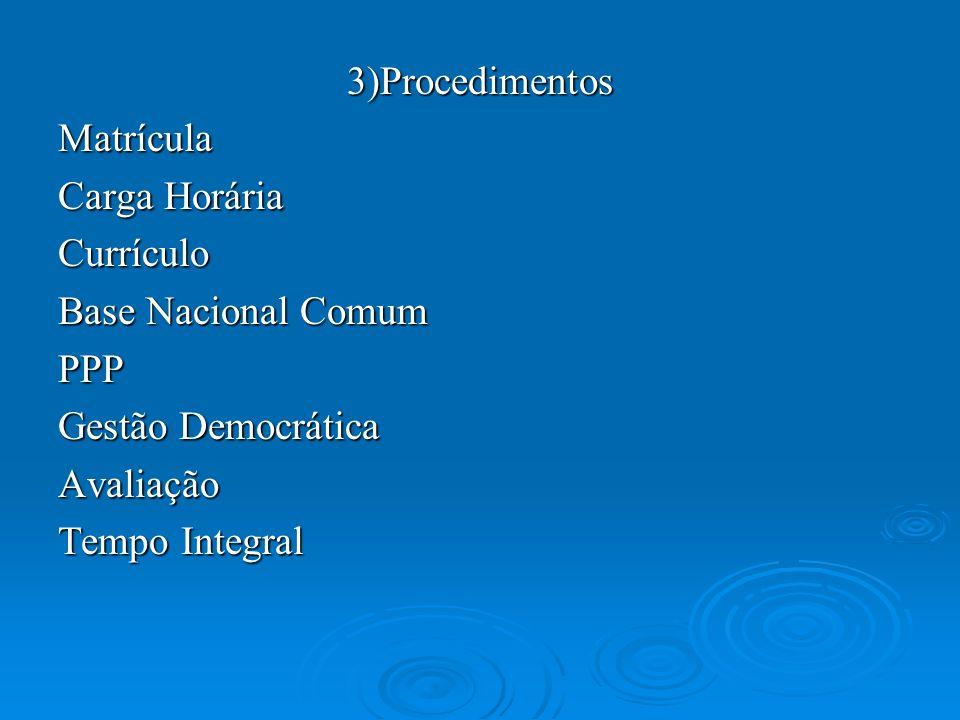 3)Procedimentos Matrícula. Carga Horária. Currículo. Base Nacional Comum. PPP. Gestão Democrática.