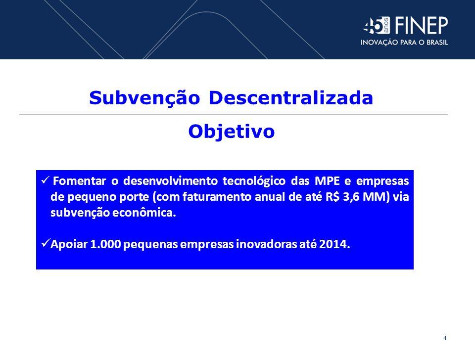 Subvenção Descentralizada Objetivo