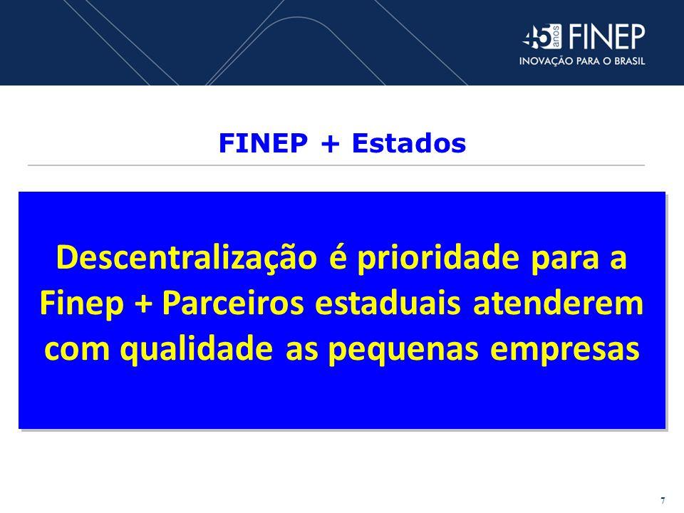 FINEP + Estados Descentralização é prioridade para a Finep + Parceiros estaduais atenderem com qualidade as pequenas empresas.