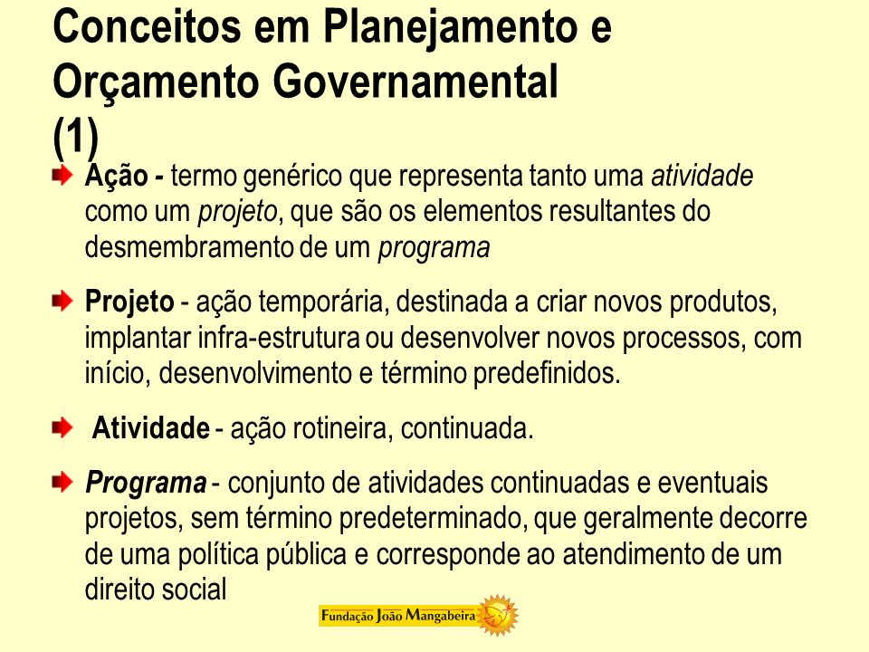 Conceitos em Planejamento e Orçamento Governamental (1)