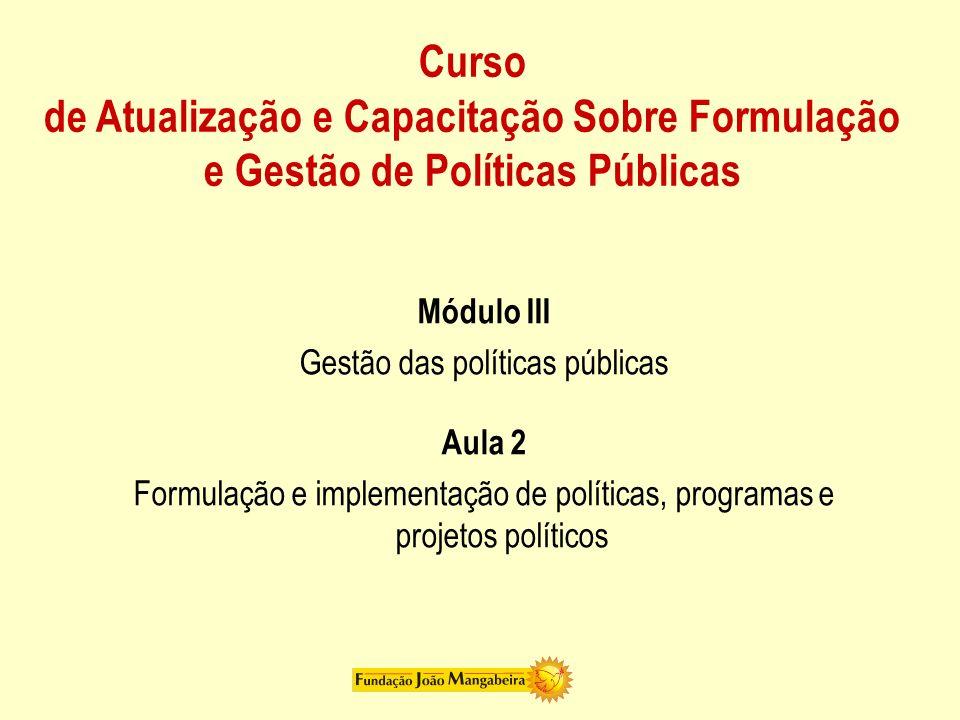 Gestão das políticas públicas