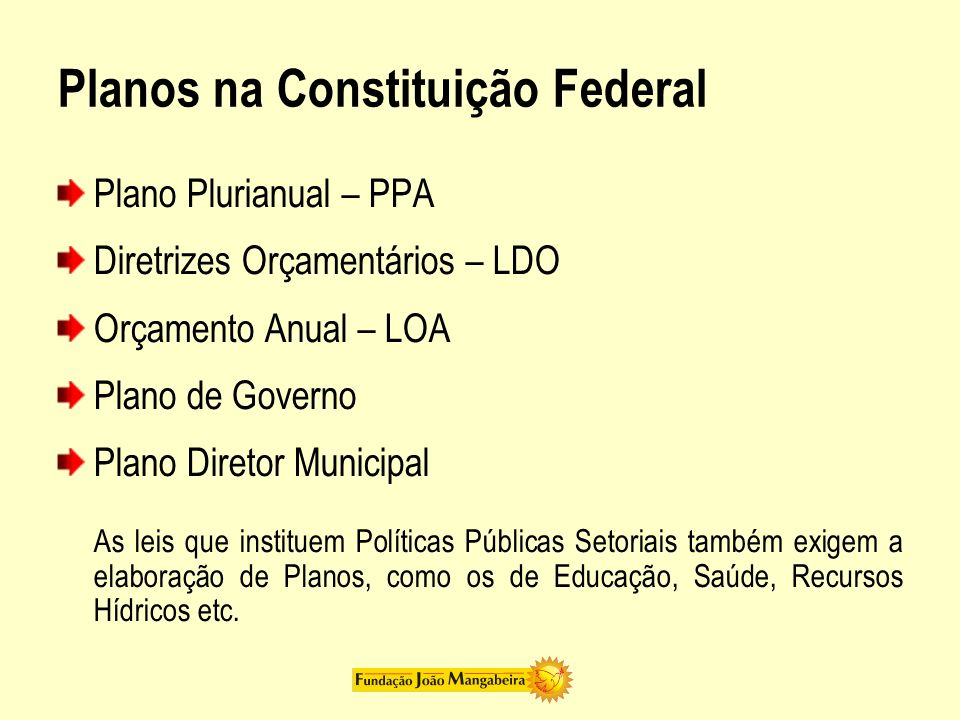Planos na Constituição Federal