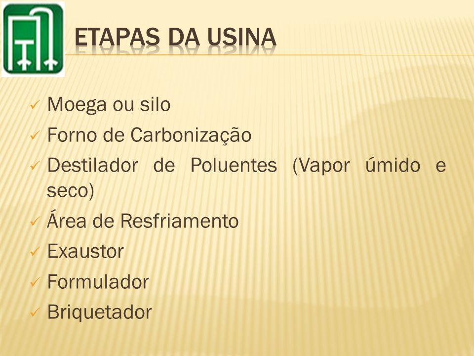 ETAPAS DA USINA Moega ou silo Forno de Carbonização