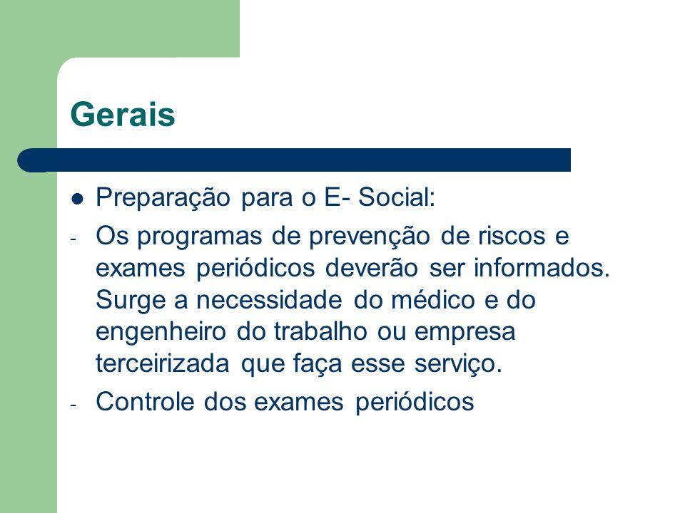 Gerais Preparação para o E- Social: