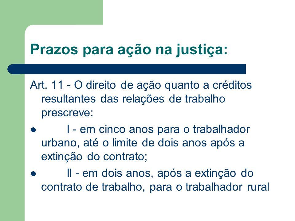 Prazos para ação na justiça: