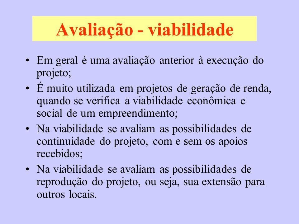 Avaliação - viabilidade