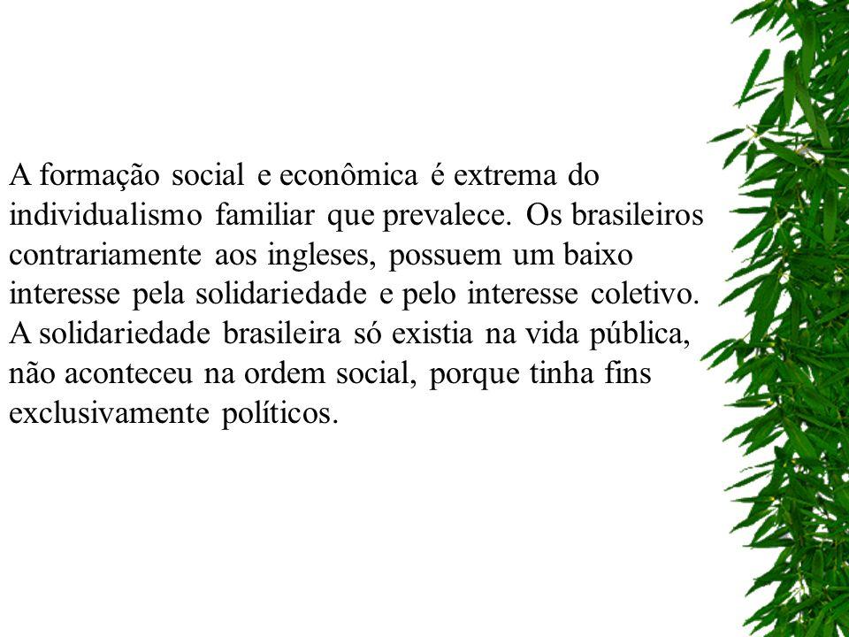 A formação social e econômica é extrema do individualismo familiar que prevalece. Os brasileiros contrariamente aos ingleses, possuem um baixo interesse pela solidariedade e pelo interesse coletivo.