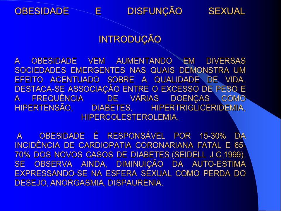 OBESIDADE E DISFUNÇÃO SEXUAL INTRODUÇÃO A OBESIDADE VEM AUMENTANDO EM DIVERSAS SOCIEDADES EMERGENTES NAS QUAIS DEMONSTRA UM EFEITO ACENTUADO SOBRE A QUALIDADE DE VIDA.