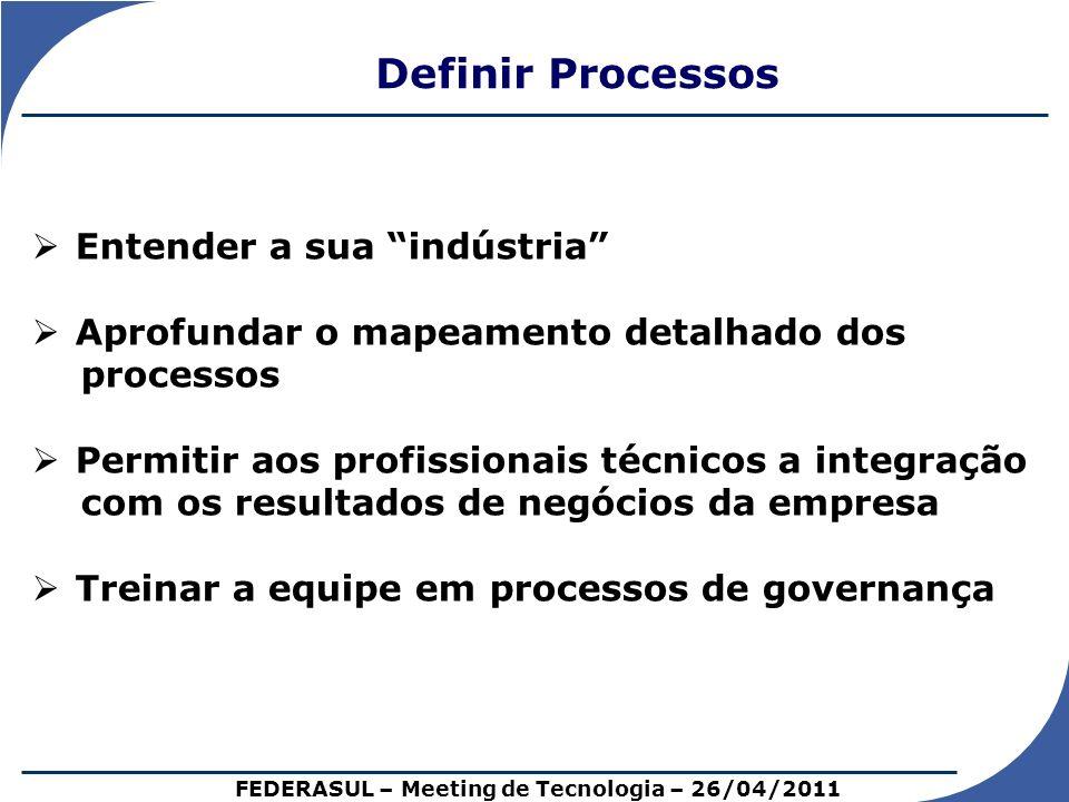 Definir Processos Entender a sua indústria