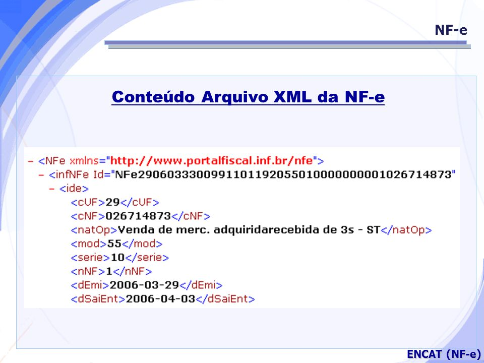 Conteúdo Arquivo XML da NF-e