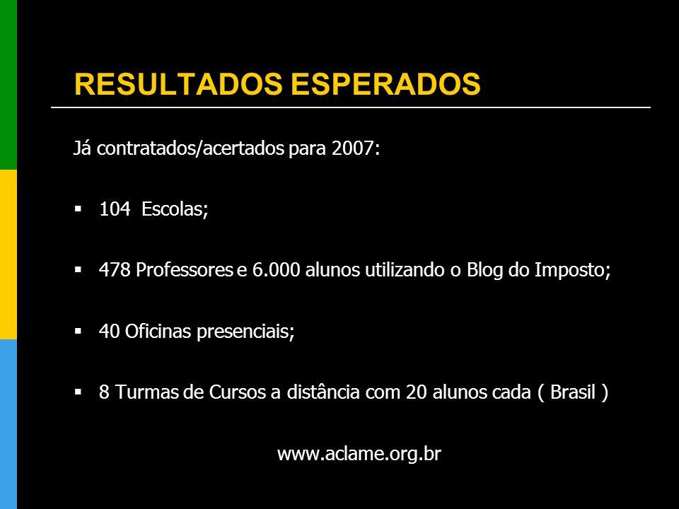 RESULTADOS ESPERADOS Já contratados/acertados para 2007: 104 Escolas;
