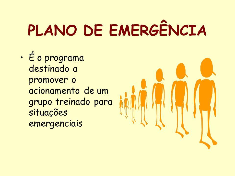 PLANO DE EMERGÊNCIA É o programa destinado a promover o acionamento de um grupo treinado para situações emergenciais.